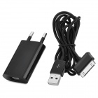 EU Plug Power Adapter w/ USB Male to 30pin Male Charging Cable for Samsung Tablets - Black