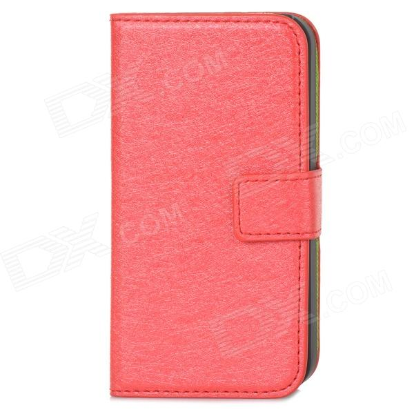 Silk Pattern Protective PU Leather Case Cover Stand for Iphone 4 / 4S - Red + Black туника s