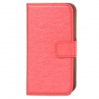 Silk Pattern Protective PU Leather Case Cover Stand for Iphone 4 / 4S - Red + Black