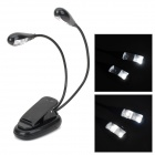 YHX-906 USB Powered Clip-on 4-LED 2-Mode Dual-Flexible Neck Table Lamp - Black (3 x AAA)