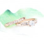 KCCHSTAR 18K Gold Plating High-Quality Two Rings Set with Artificial Diamond - Golden (2 PCS)