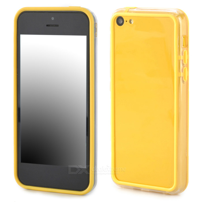 Simple Classic Bumper Frame Case for Iphone 5C - Yellow + Transparent