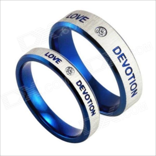 GJ154 Fashionable Titanium Steel Couple Rings - Silver + Blue (Men 9 / Women 7) 100pcs lot 3mm 3 mm 3 17mm 3 17 mm rc prop propeller protector saver include rubber band o ring o ring free shipping