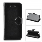 Protective Flip-open PU Leather + Plastic Case for Iphone 5C - Black