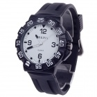 ORKINA W004 Fashionable Rubber Band Quartz Analog Wrist Watch for Men - Black + White (1 x LR626)