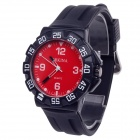 ORKINA W004 Fashionable Rubber Band Quartz Analog Wrist Watch for Men - Black + Red (1 x R626)