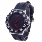 ORKINA W004 Fashionable Rubber Quartz Analog Wrist Watch for Men - Black + Silver + Red (1 x LR626)