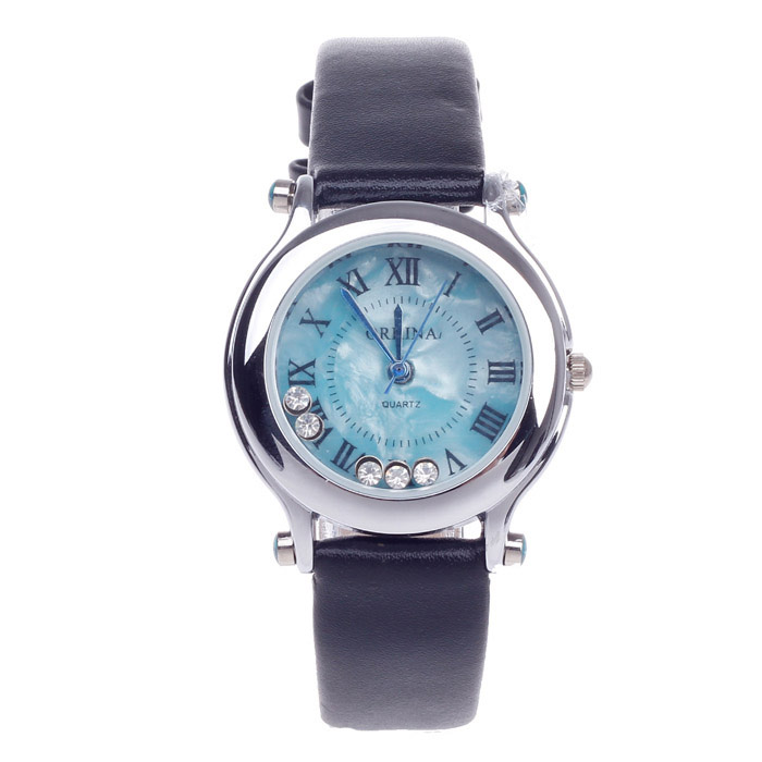 F111 Fashionable Women's Quartz Watch w/ Rhinestone / Roman Numerals - Black + Silver (1 x LR626)