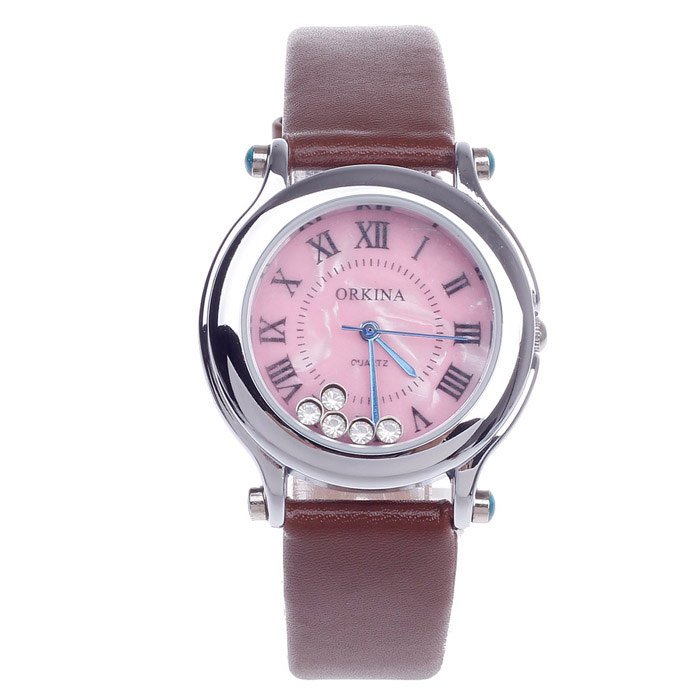 F111 Fashionable Women's Quartz Watch w/ Rhinestone / Roman Numerals - Brown + Silver (1 x LR626)