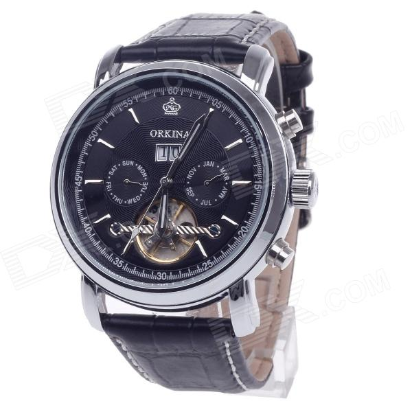 KC042 Double-Side Hollow Style Automatic Mechanical Men's Watch w/ Date Display - Black + Silver ks grand series automatic mechanical wrist watch black date tourbillon stainless steel men leather clock wooden gift box ks367