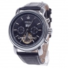 KC042 Double-Side Hollow Style Automatic Mechanical Men's Watch w/ Date Display - Black + Silver