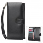 Purse Type Protective PU Leather Case w/ Strap for Iphone 5 - Black