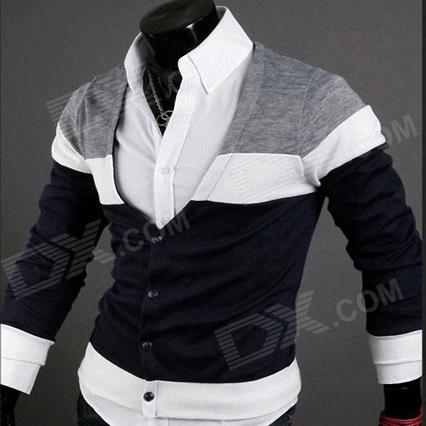 Fashionable Personality Cardigan for Men - Black   White   Navy ...