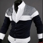 Fashionable Personality Cardigan for Men - Black + White + Navy Blue (Size-XL)