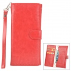 Wallet Style Protective PU Leather Case w/ Card Holder Slots / Hand Strap for iPhone 5 - Red