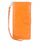 Wallet Style Protective PU Leather Case w/ Card Holder Slots / Hand Strap for Iphone 5 - Orange