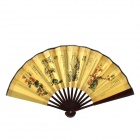 Plum Blossoms Orchid Bamboo Chrysantheme Muster 10,7'' Chinese Folding Fan Art - Brown + Gelb