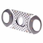Fashionable Grid Stainless Steel Cigar Cutter Knife - Grey + Golden + Silver