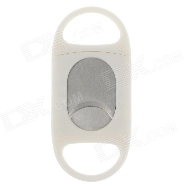 Single Blade Plastic + Stainless Steel Cigar Cutter Knife - White + Silver