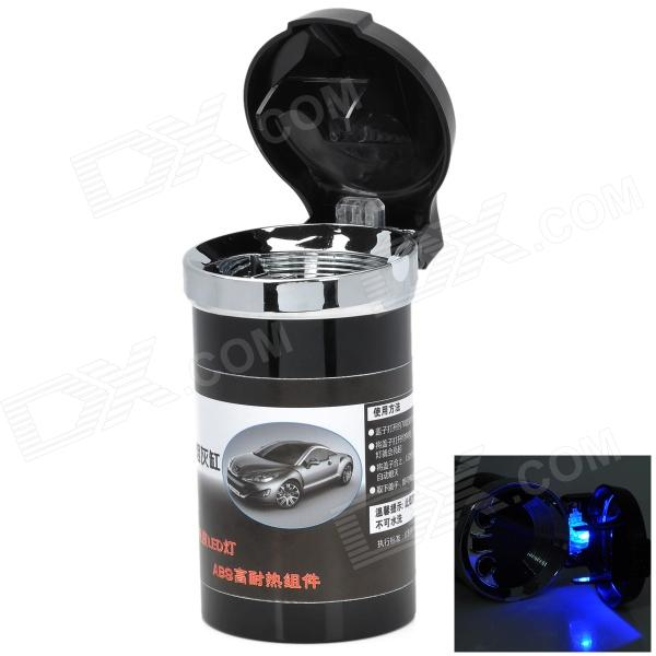 Car Ashtray w/ Blue LED Light - Black + Silver (2 x CR2016) ashtray