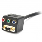 VGA Male to Female + 3-RCA Female Adapter - Black (30cm-Cable)