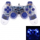 Microkingdom 850S USB Wired PC Game Dual-Shock Joystick Controller - Blue + Transparent(144cm-Cable)
