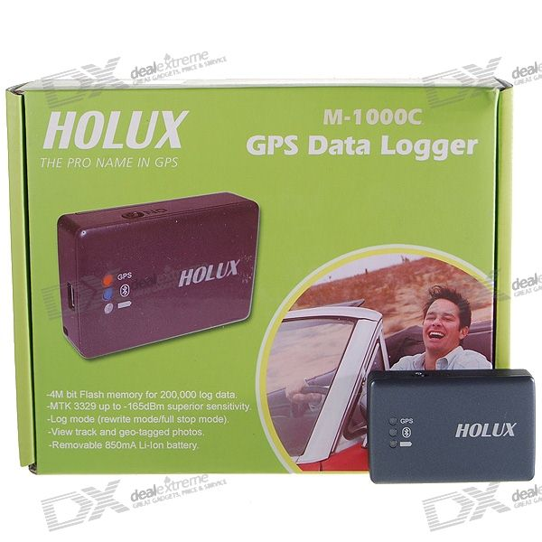HOLUX M-1000C Rechargeable Bluetooth Car GPS Receiver with Data Logger Travel Recorder