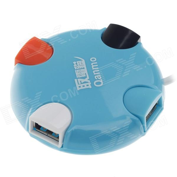Qanmo Cute Round Shape High-Speed 4-Port USB 2.0 HUB - Blue (100cm-Cable) wbtuo high speed 4 port usb 3 0 3 port usb 2 0 hub black