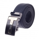 Wolf Car Stylish Men's Cow Split Leather Zinc Alloy Automatic Buckle Belt - Black