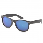 UV400 Protection Plate Frame Resin Lens Sunglasses - Black