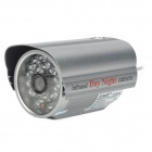 "AJ w3124 Waterproof 1/3"" CCD Wide Angle CCTV Camera w/ 24-LED IR Night Vision - Grey"