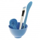 4-in-1 DIY Facial Mask Maker Set / Mixing Bowl + Stick + Brush + Measuring Spoons - Blue+ White