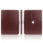 ENKAY ENK-7035 360' Rotation Protective PU Leather Case Cover Stand for Samsung Galaxy P5200 - Brown
