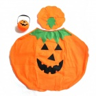 Halloween Cosplay Children Pumpkin Costume Suit + Hat + Candy Buckets Set - Orange