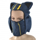 Cosplay Kennen Plush Half Mask Hat  - Deep Blue