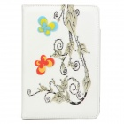 Butterfly Flower Pattern Protective PU Leather Case Cover Stand for Ipad MINI - White