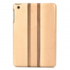 Detachable Stripe Pattern Protective Wooden Back Case for iPad Mini - Beige + Brown