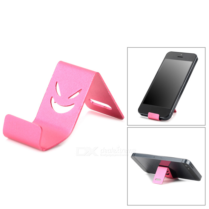 Mini Aluminum Alloy Cell Phone Stand for Iphone 4 / 4S / 5 - Deep Pink sexy lip style zinc alloy button sticker for iphone 4s pink