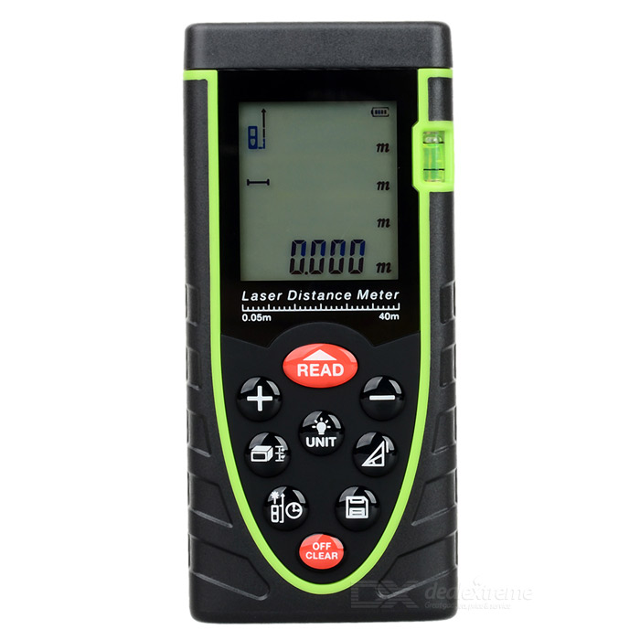 RZ40 1.9 LCD Digital Laser Distance Meter / Rangefinder - Black + Green (3 x AAA) 80m laser distance meter area volume pythagorean measurement spirit bubble level industrial tool