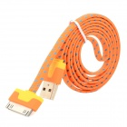 USB to 30-Pin Data Charging Nylon Cable for iPhone 4 / 4S - Orange + Blue (1m)