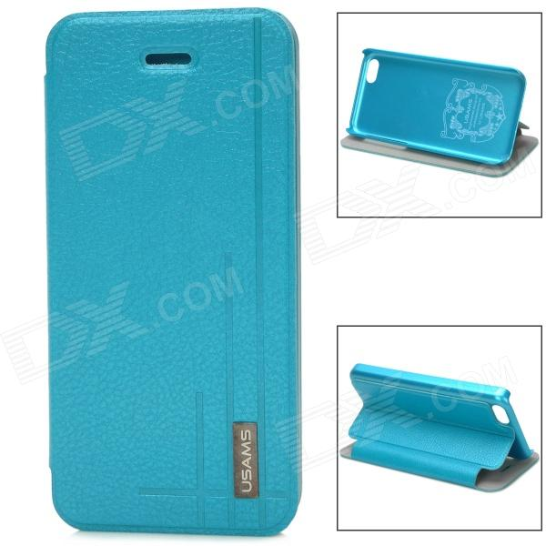 USAMS Protective PU Leather Flip Open Case for Iphone 5C - Blue protective plastic case for iphone 5c blue