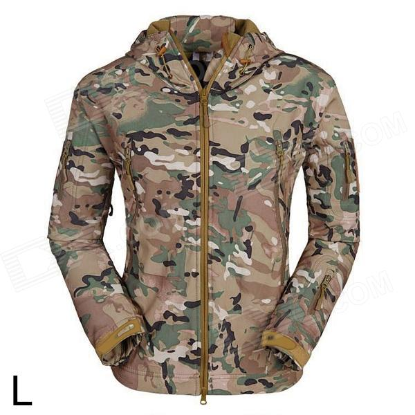 ESDY ESDY-0017 Outdoor Sports Waterproof Warm Polyester Jacket for Men - Camouflage (L) esdy 619 men s outdoor sports climbing detachable quick drying polyester shirt camouflage xxl