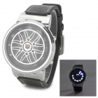 TVG X6 Zinc Alloy Case Leather Band Digital Wrist Watch w/ LED for Men - Silver + Black