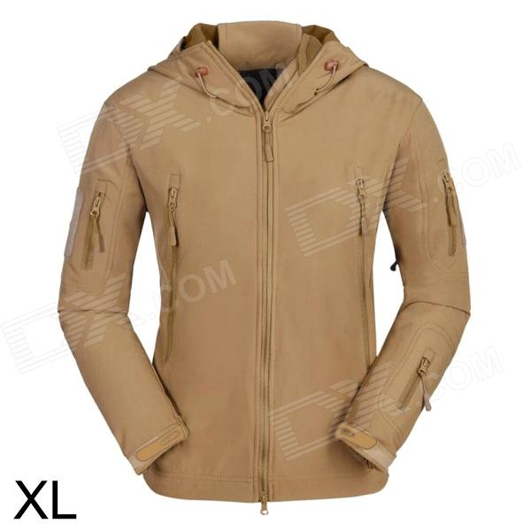 ESDY ESDY-0009 Outdoor Sport Waterproof Warm Polyester Jacket for Men - Khaki (XL) hollow out tassel spliced stylish v neck 3 4 sleeve blouse for women