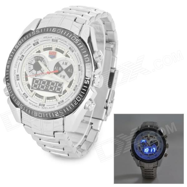 TVG KM468 Waterproof Stainless Steel Quartz Analog + Digital Wrist Watch w/ LED for Men - Silver