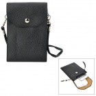 Stylish Universal PU Leather Vertical Punch Bag for Iphone / Samsung / HTC + More - Black
