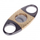 Dual Blades Stainless Steel Pull Type Cigar Cutter Knife - Golden + Grey