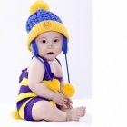 Children's Knitted Cap - Yellow + Blue