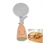 Cute Smiling Face Style Stainless Steel Round Pizza Knife - Wood Color