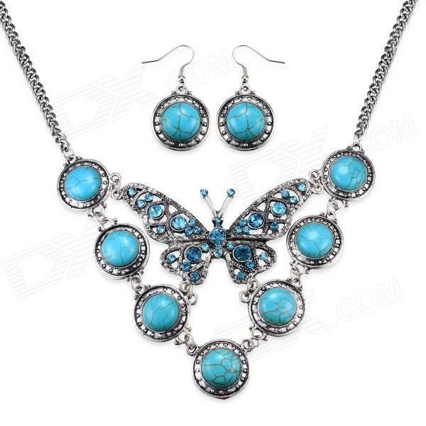Фото - eQute BSSW3C99 Classic Turquoise Butterfly Necklace + Earrings Set for Women - Green + Blue bar butterfly fringed chain dangle earrings